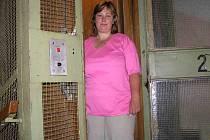 Podle slov obyvatelky jednoho z městských bytů je starý výtah zatím plně funkční. Nevejde se do něj ale ani kolo.