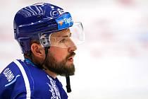 Hokejová příprava: Kladno (v modrém) hostilo v Chomutově sousední Litvínov. Nicolas Hlava