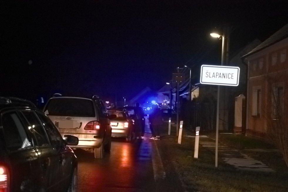 Dopravní nehoda ve Šlapanicích v úterý 26. ledna 2021.