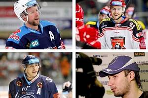 Vyšli z Kladna, ale titul hrají za jiné kluby. Zleva nahoře Ivan Huml, Tomáš Knotek, dole Martin Ševc a Jakub Valský.