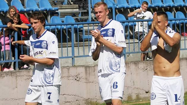 Šíma, Hanzlík a Růžička děkují za podporu // SK Kladno - FK Slavoj Žatec 3:2, divize B, 14. 9. 2013