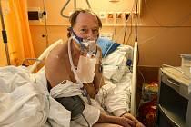 Covid jednotka intenzivní péče v nemocnici ve Slaném.