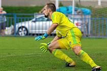MOL Cup: Slaný (v modrém) - Hostouň 1:2 po prodloužení. Brankář Tetour