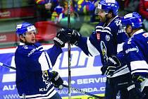 Denis Kindl se těší z prvního gólu Kladna.