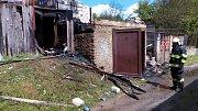 V Kačici hořela dřevěná kůlna. K požáru došlo krátce po poledni, nikdo nebyl zraněn.