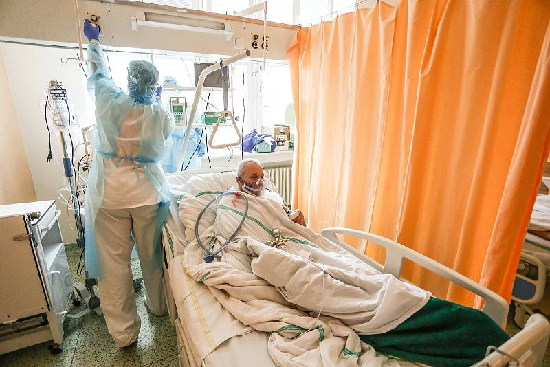 Covid jednotka intenzívní péče v nemocnici ve Slaném na Kladensku