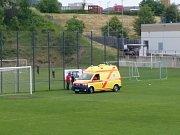 RZS zasahuje při zápasu Litoměřicko - Štěchovice, v němž se vážně zranil hostující kapitán Michal Švejda.