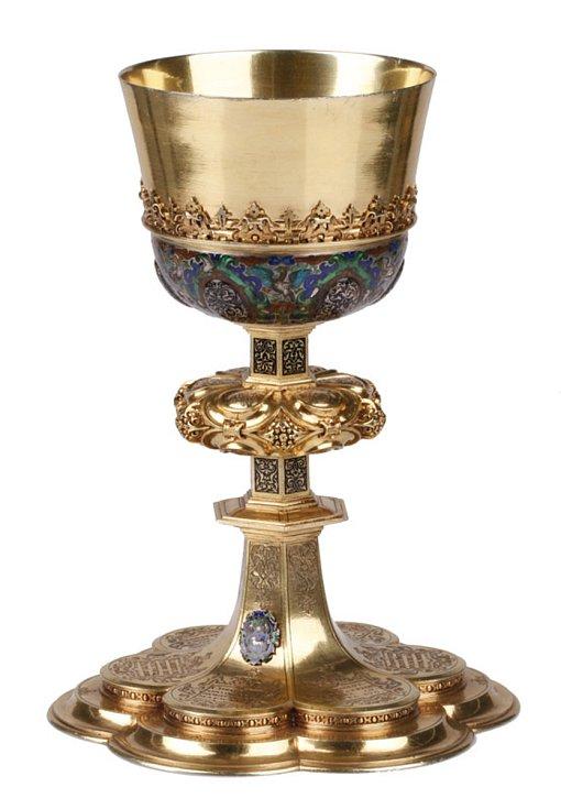 Anonymní stříbrotepec - Mešní kalich (Lešno, Muzeum Okregowe), střední Evropa, kolem roku 1600 - zlacený plech, stříbro, skleněné imitace kamenů.