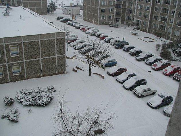 Březnová sněhová nadílka ve Slaném