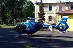 U nehody ve Slaném zasahoval vrtulník