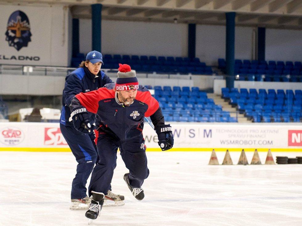 Jan Kregl a Jaromír Jágr při letním tréninku na ledě ČEZ stadionu.