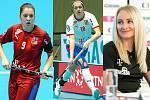 Středočešky ve florbalové reprezentaci: zleva Nela Jiráková, Magdaléna Plášková a Martina Řepková.