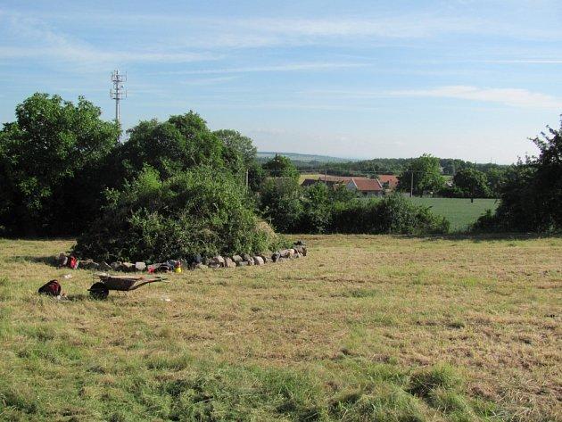 Obecní pozemek na Trněném Újezdu, kde bude založen sad.