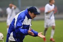 Miroslav Beránek a jeho gesto po druhé brance v síti Kladna //  SK Kladno a.s. - FK Spartak MAS Sezimovo Ústí a.s. 1:2 (1:0) , utkání 15.k. 2. ligy 2010/11, hráno 7.11.2010