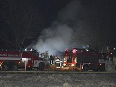 Požár zahradní chatky ve Třebichovicích v sobotu 27. února