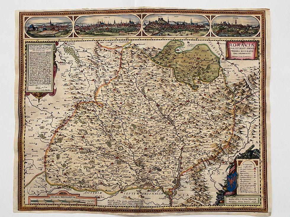 Komenského mapa Moravy (soukromá sbírka) - mapový obsah: Jan Amos Komenský, asi vletech 1621–1623, rytec: Abraham Goos, Amsterodam vletech 1626–1627, nakladatel: Nicolaus Joannes Piscator, Amsterodam vroce 1627.