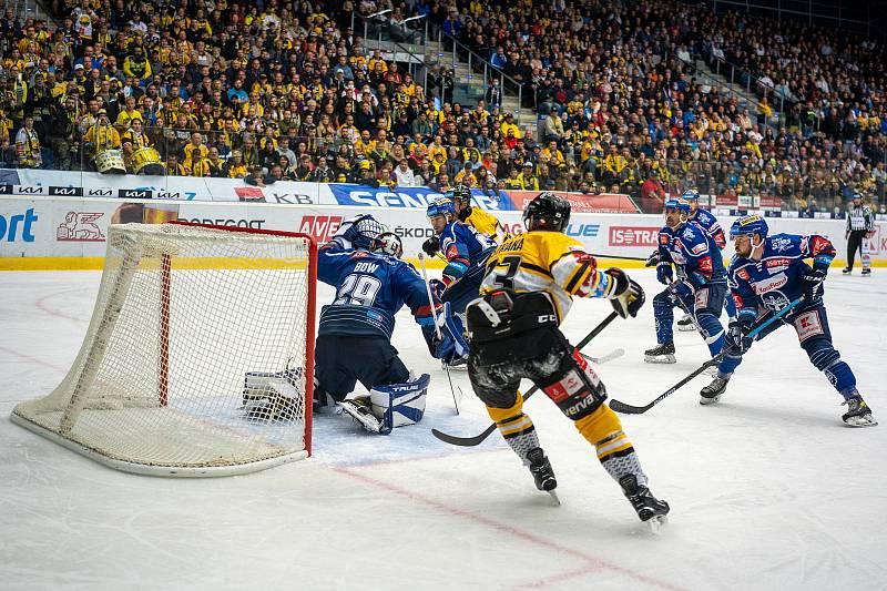 Rytíři Kladno vs. HC Verva Litvínov po první třetině 1:0. Gól Nicolas Hlava, asistence Jaromír Jágr. (19.9.2021)