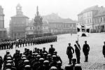 Přehlídka německých okupačních oddílů dne 26. března 1939 na kladenském náměstí.