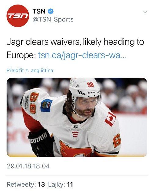 'Jágr opustil waivers a pravděpodobně míří do Evropy'