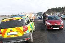 Dopravní nehoda Na Čubě Slaný-Kvíček, pátek dopoledne