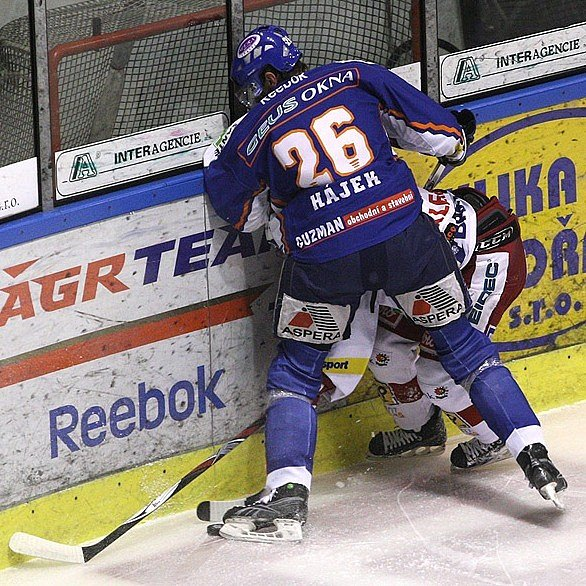 Kladno - Slavia 2:1, David hájek bojuje u hrazení.
