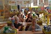 Děti si užily první školní den také ve Slaném.