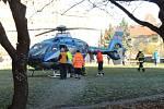 Transport zraněného vrtulníkem, Kladno, Vodárenská ulice