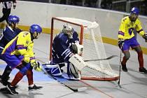 Alpiq Kladno (v modrém) dohrávku nezvládl, Kertu Praha podlehl 3:6.