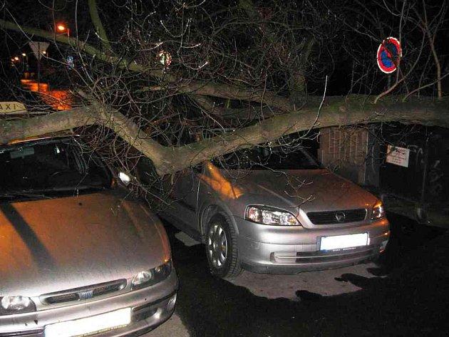 Podobný případ jako ve Slaném se vloni stal v Kladně. Vzrostlý strom v Dánské ulici také spadl na zaparkovaná auta.