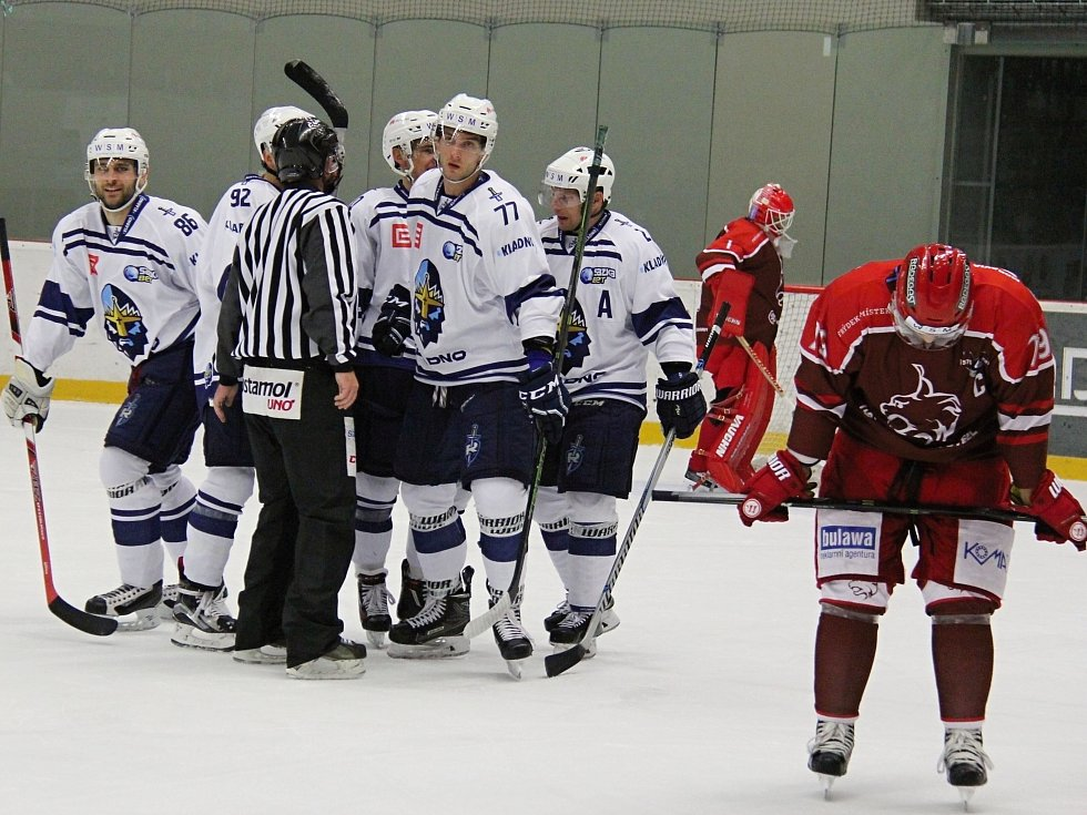 Frýdek-Místek hostil poprvé v historii hokejové Kladno. Hosté slaví první gól Ptáčka