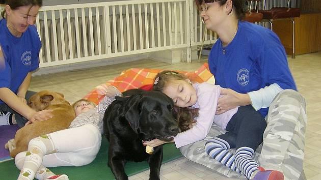 Čtyřletá  labradorka Collen se svou paničkou Šárkou Suldovskou (vpravo) pomáhají mimo jiné v dětském rehabilitačním centru Zvonek.