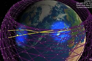 Projekt Starlink společnosti SpaceX vypustí do roku 2027 dvanáct tisíc družic pro internet. Ty mají coby žluté body v síti na obrázku své přesně určené místo.