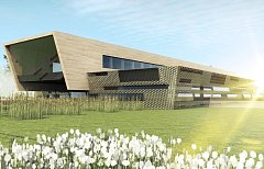 Vizualizace nového Univerzitního centra ekologicky efektivních budov, které vzniká u Buštěhradu.