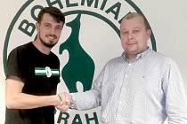 Předseda fotbalového Slovanu Velvary David Vedral (vpravo) s šéfem ligových Bohemians Praha Darkem Jakubovičem. Oba kluby spolupracují už roky.