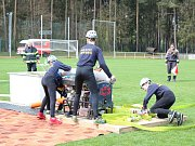 V rámci Hasičské ligy 2016/17 soutěžili mladí hasiči ve Lhotě v požárním útoku.
