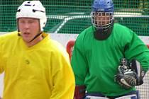 Hokejbalisté Třebíze (na snímku vlevo útočník Cibulka) prohráli s Buštěhradem a klesli na druhé místo.