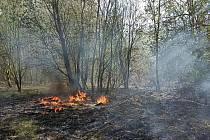 Pondělní požár na rozloze 100 x 50 metrů.