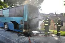 Požár autobusu v Kačici.
