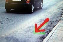 Místo, kde řidič v ulici J. Hory srazil chodce.