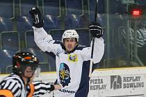Ústí - Kladno 1:6. Ondřej Havlíček slaví gól proti klubu, v němž v dospělém hokeji dělal první kroky.