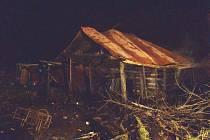 Požár chatky v Sušici