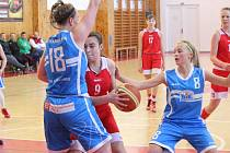 Liga starších žákyň U15 2016/2017: BK Klatovy (červené dresy) - BK Strakonice 44:58