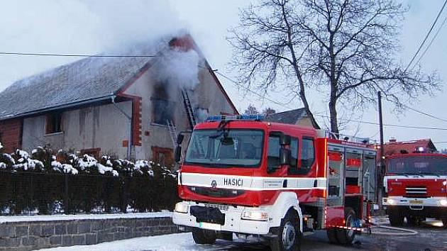 Požár domu ve Štipoklasech