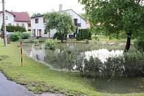 Zaplavené Petrovice u Karviné po vylití říčky Petrůvky.