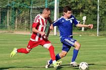 TJ Start Luby (červení) vs. FK Tachov 1:4.