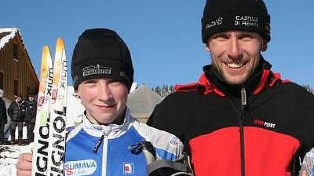 Dvanáctiletý Tomáš Kalivoda se svým trenérem Zbyňkem Pavláskem