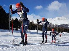 Běžci Bauer Ski Teamu v závodě družstev v Pontresině v prvním podniku Ski Classics 2017/2018. Zleva Jan Šrail, Ilia Chernousov a Lukáš Bauer.