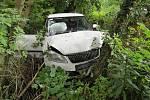 V sobotu odpoledne sjela řidička mimo silnici u Boubína.