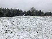 Květnový příděl sněhu na Modravsku na Šumavě