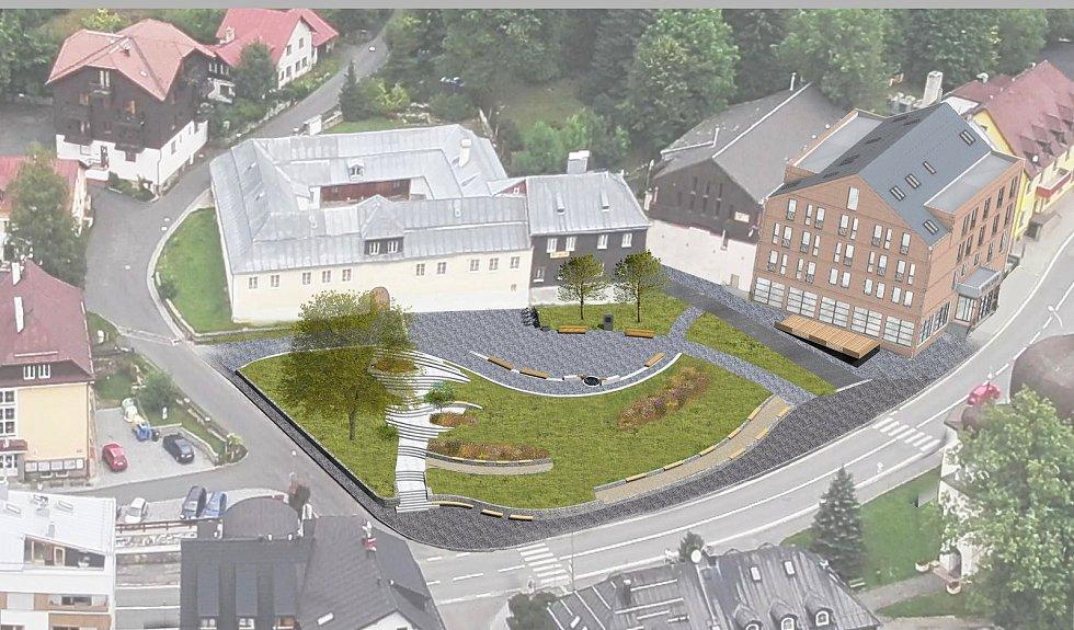 Vizualizace nového náměstí v Železné Rudě.